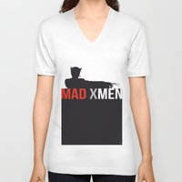 x men V-neck T-shirts featuring MAD X MEN by Alain Bossuyt