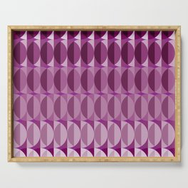 Leaves at midnight - a pattern in aubergine Serving Tray