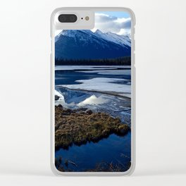 Rundle Mountain Reflections Clear iPhone Case