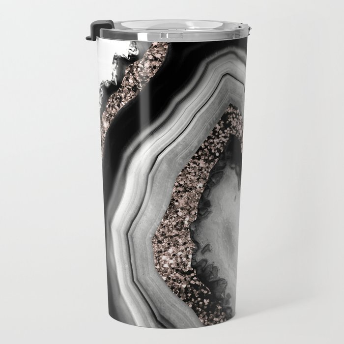 Agate Rose Gold Glitter Glam #4 #gem #decor #art #society6 Travel Mug