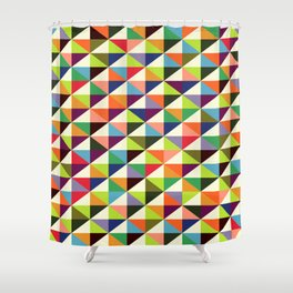 Geometric Pattern 86 (colorful mid-century triangle) Shower Curtain