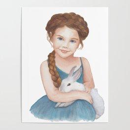 Little girl stroking  bunny Poster
