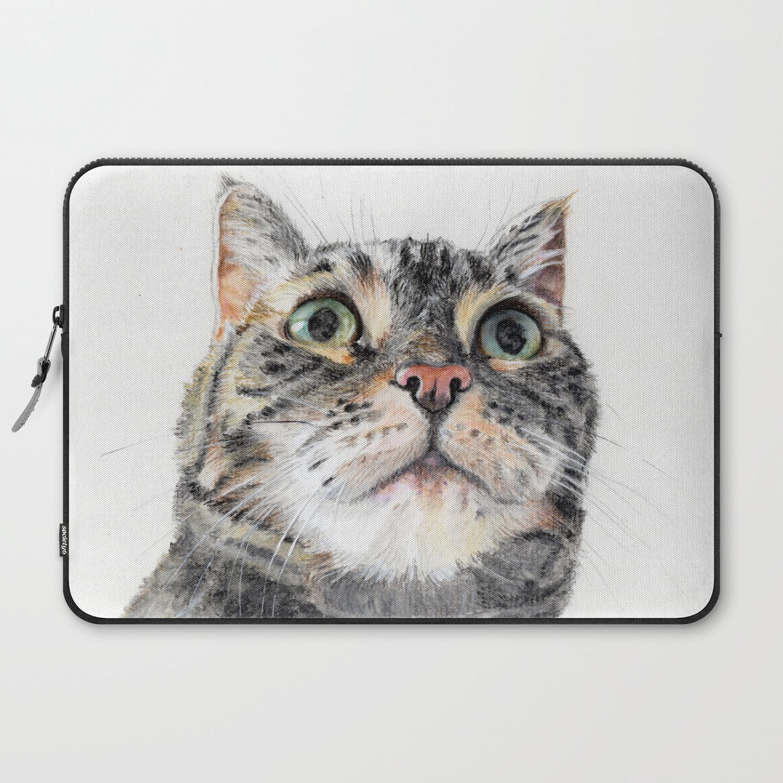 Big Eyed Cat Laptop Sleeve By Ioanabalcan Society6