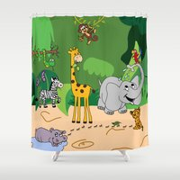 jungle Shower Curtains featuring JUNGLE by Rebecca Bear