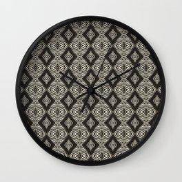 Monochrome Modern Aztec Diamond Mosaic and Waves Wall Clock