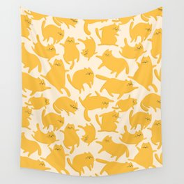 Yellow Cats Pattern Wall Tapestry
