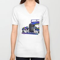 ford V-neck T-shirts featuring Ford Abstract by Beach Bum Pics