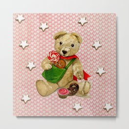 Pink_Hearts_Xmas_Bear_1 Metal Print
