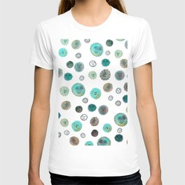 Whimsical Happy Suns Watercolor Pattern Teal T-shirt