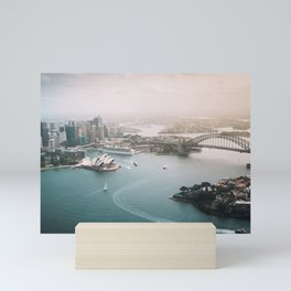 Sydney Opera House Harbour Bridge | Australia Aerial Travel Photography Mini Art Print