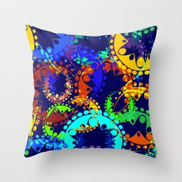 Texture of bright colorful gears and laurel wreaths in kaleidoscope style on a sea background. Throw Pillow