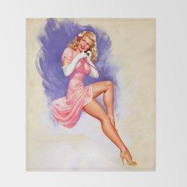Vintage Lady Throw Blanket