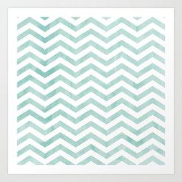 Stripes Blue zig-zag Art Print