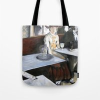 degas Tote Bags featuring Degas' Goat Drinking Absinthe  by MollyK