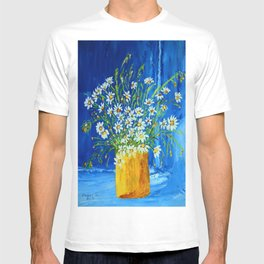Daisies by the blue wall  T-shirt
