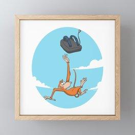 Monkey skydiver catching parachute Framed Mini Art Print