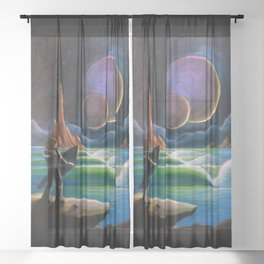 Cosmic Surf Scene Sheer Curtain