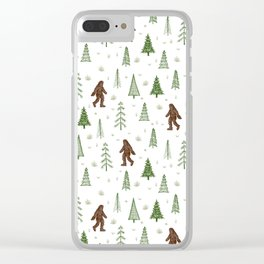 trees + yeti pattern in color Clear iPhone Case