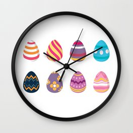 Colorful Easter Eggs Wall Clock