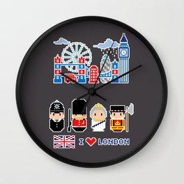 I love London - London Icons - Pixel Art Wall Clock