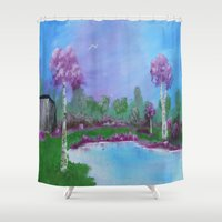 relax Shower Curtains featuring relax by Krista May