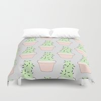 cacti Duvet Covers featuring Cacti  by Sarah Kennedy