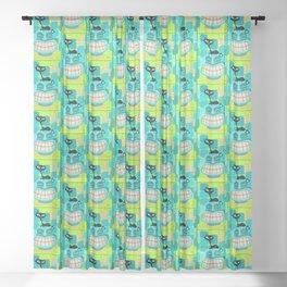 Sassy Cat Loves Tikis Sheer Curtain