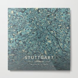 Stuttgart, Germany - Cream Blue Metal Print
