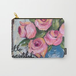 pink roses shabby chic farmhouse style Carry-All Pouch