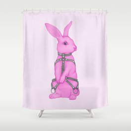 Pink Rabbit Shower Curtain