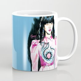 fashion #7. portrait of a dark-haired woman in pink satin dress with a dragon Coffee Mug