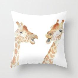 Giraffe Watercolor Throw Pillow