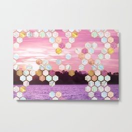 Beautiful Beach Imagery with Marble, Glitter, gold and rose gold geometric tiles Metal Print