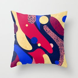 Psychedelic terrazzo galaxy blue night gold red Throw Pillow