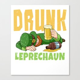 Drunk Leprechaun Funny St Patricks Day Irish Beer Design Canvas Print