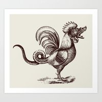 cock Art Prints featuring monster cock by sustici