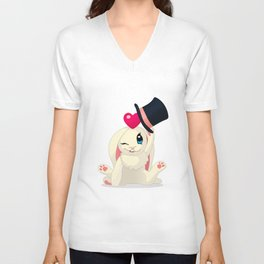 cute cartoon Funny Bunny with topper Unisex V-Neck