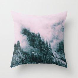 Pink Clouds Creeping Throw Pillow