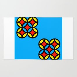 Colored Circles on Light Blue Board Rug