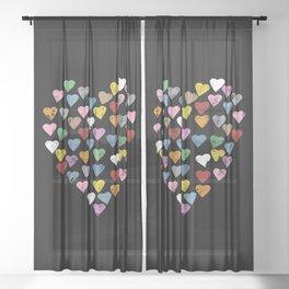 Distressed Hearts Heart Black Sheer Curtain