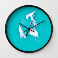 polygon Wall Clocks featuring Polygon by Frances Marvell