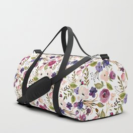 Violet pink yellow green watercolor modern floral pattern Duffle Bag