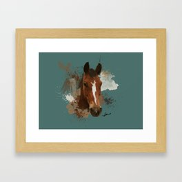Brown and White Horse Watercolor Dark Framed Art Print