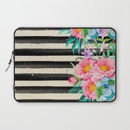 Modern stripes and tropical flowers hand paint Laptop Sleeve