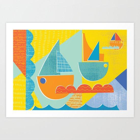 3 sail boats at sea 2 Art Print