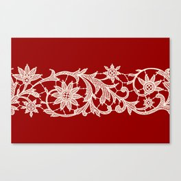 Red Backgrounds. White Lace Ribbon. Canvas Print