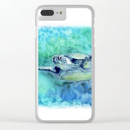 Swimming Turtle In Watercolor Clear iPhone Case