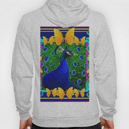 Decorative Blue Peacock & Yellow Butterflies Art Hoody