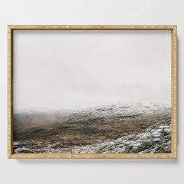 White winter mountain landscape   Norway travel photography print   Trolltunga Wanderlust art Serving Tray