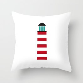 Lighthouse in red an white Throw Pillow